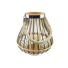 Rustic Chic Pear Shaped Rattan Candle Holder Lantern with Handle