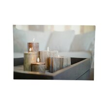 LED Lighted Rustic Driftwood Style Candles on Tray Wall Art