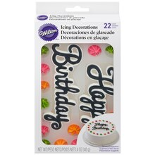 Wilton Royal Icing Decorations, Happy Birthday Packaged