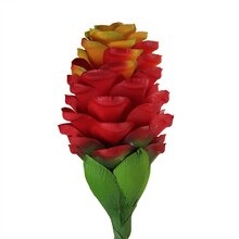 "28"" Red and Orange Flame Ginger Flower Crafting Stem Top"