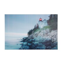 LED Lighted Lighthouse with Morning Sunrise Wall Art