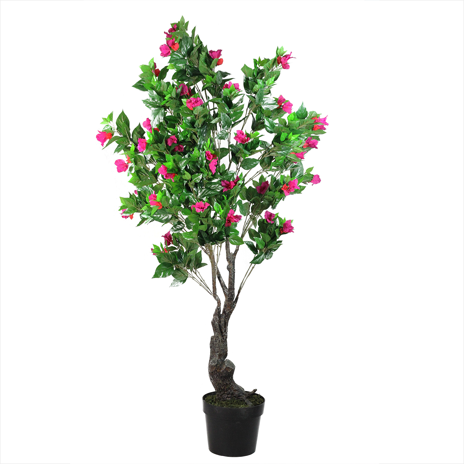 Potted Artificial Green, Pink and Red Bougainvillea Tree