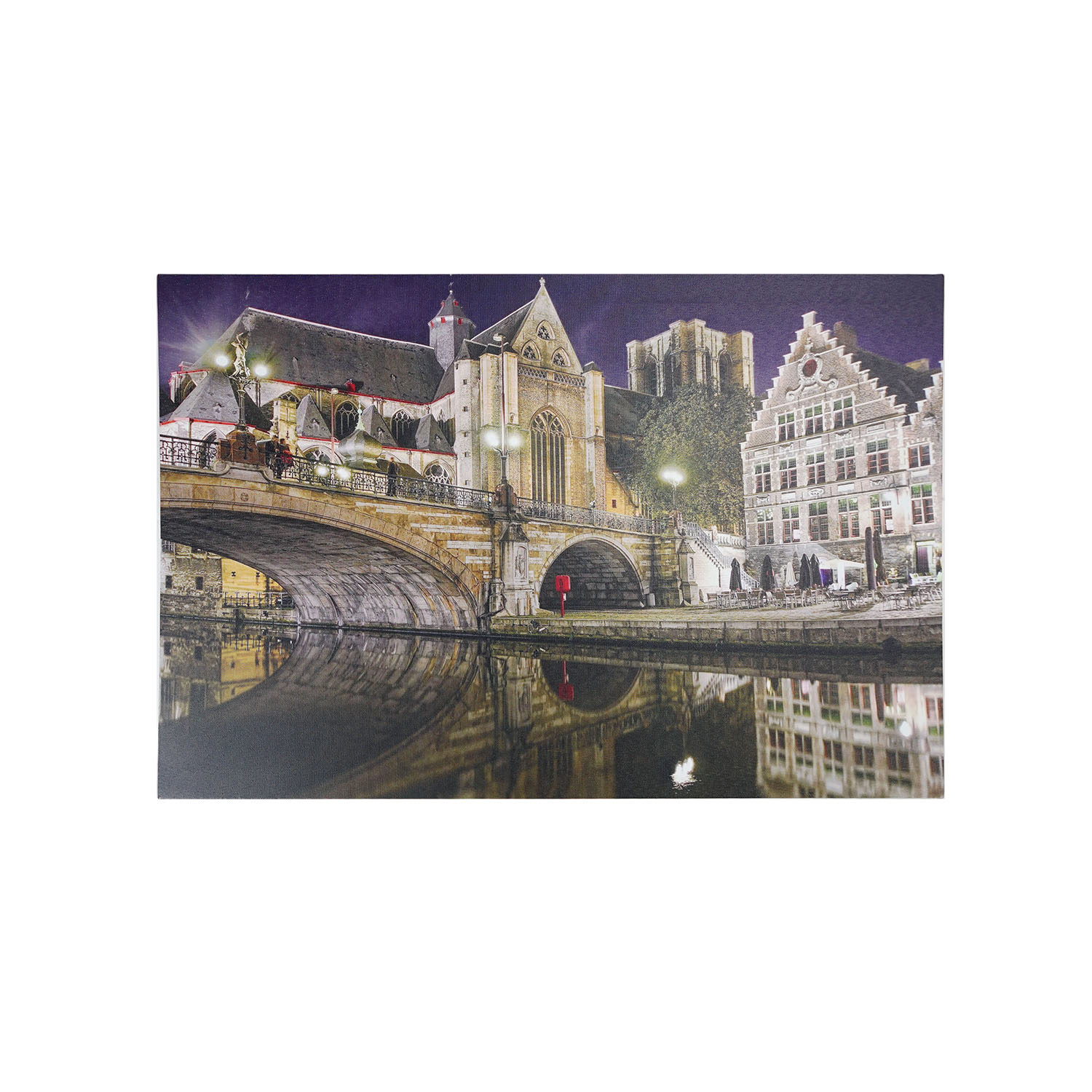 LED Lighted St. Michaelu0027s Bridge And Church In Ghent Wall Art