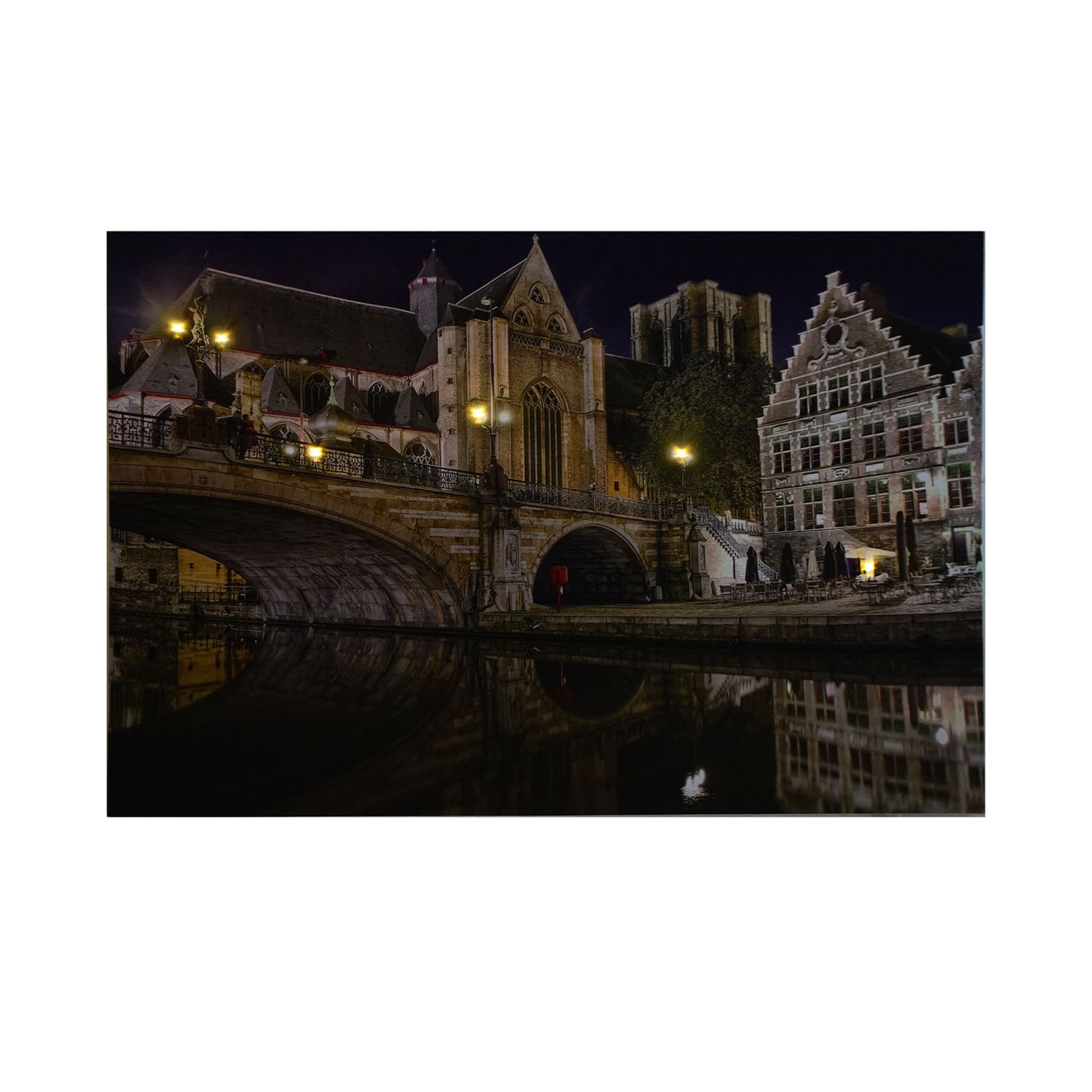 ... LED Lighted St. Michaelu0027s Bridge And Church In Ghent Wall Art