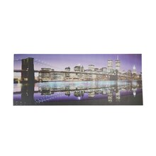 LED Lighted New York City Brooklyn Bridge Skyline Wall Art