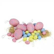 Set of 29 Pastel Pink, Yellow and Blue Spring Easter Egg Ornaments