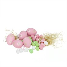 Set of 29 Multicolor Pastel Painted Floral Spring Easter Egg Ornaments