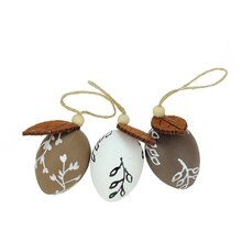 Set of 3 Brown and White Decorative Painted Spring Easter Egg Ornaments