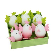 Set of 6 Pink and Green Easter Egg Chicken Decorations