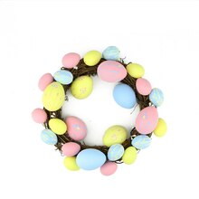 "10"" Pastel Pink, Yellow and Blue Easter Egg Grapevine Wreath"