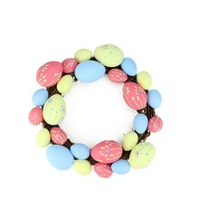 "10"" Pink, Yellow and Blue Easter Egg Grapevine Wreath"