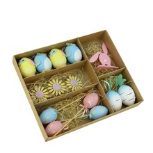 Set of 14 Multicolor Pastel Easter Egg, Chicken and Bunny Spring Decorations