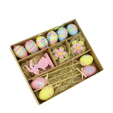 Set of 13 Multicolor Pastel Easter Egg, Flower and Bunny Spring Decorations