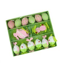Set Of 16 Multicolor Easter Egg, Chicken & Bunny Spring Decorations