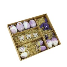 Set of 14 Purple and White Easter Egg, Chicken & Bunny Spring Decorations