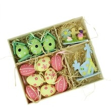 Set of 13 Multicolor Easter Egg, Birdhouse and Rooster Spring Decorations
