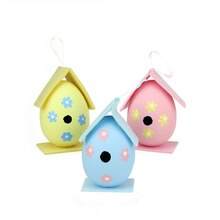 Set of 3 Multicolor Painted Easter Egg Birdhouse Ornaments