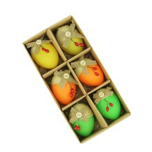Set of 6 Bright Decorative Jute Burlap Spring Easter Egg Ornaments