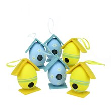 Set of 6 Yellow and Blue Floral Painted Easter Egg Birdhouse Ornaments