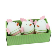 Set of 3 Pink and Green Striped Easter Egg Spring Decorations