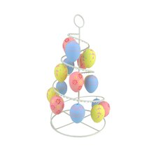 Pastel Pink, Blue and Yellow Floral Cut-Out Easter Egg Tree