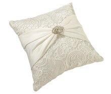 Lillian Rose Vintage Lace Ring Bearer Pillow, Cream