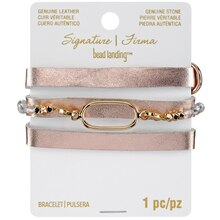 Signature Sedona Gold & clear Leather Bracelet By Bead Landing