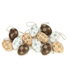 Natural Tone Floral Cut-Out Easter Egg Ornaments Set