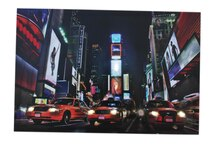 LED Lighted NYC Times Square Broadway Taxi Cabs Wall Art