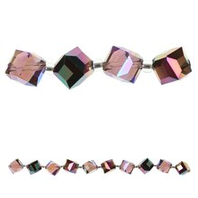 Bead Gallery Iridescent Cube Glass Beads, Amber Side