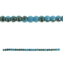 Bead Gallery Faceted Rondelle Glass Beads, Aqua & Brown Side