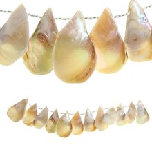 Bead Gallery Large Teardrop Shell Beads, White Side
