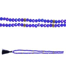 Bead Gallery Mixed Rondelle Glass & Metal Beads with Tassel, Blue Side