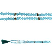 Bead Gallery Mixed Rondelle Glass & Metal Beads with Tassel, Turquoise Side