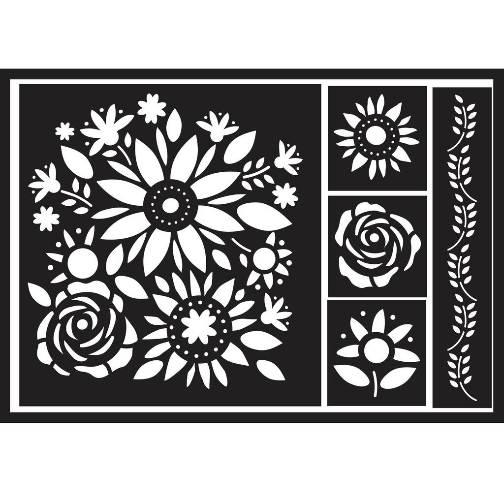 Stencils diy home floral bouquet adhesive stencil by artminds amipublicfo Image collections