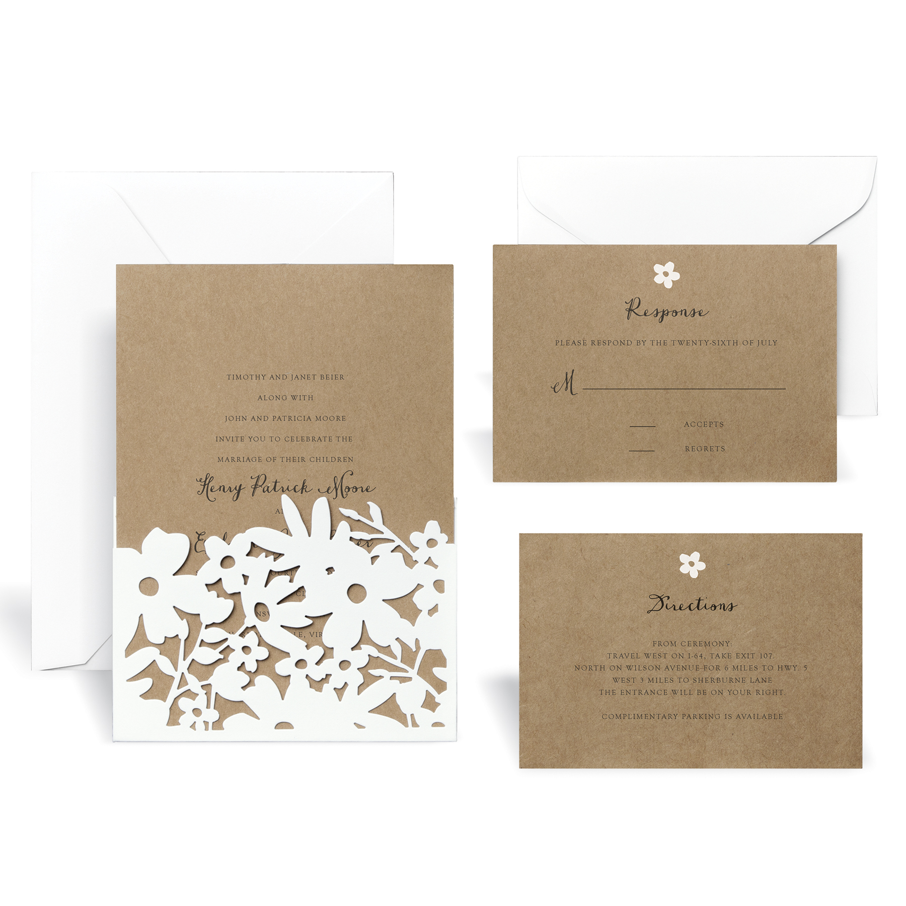 Find the LaserCut WrapIn Floral Wedding Invitation Kit By