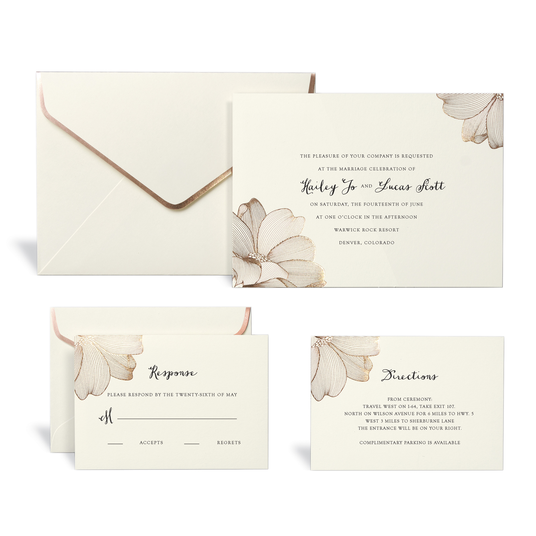 Shop for the Rose Gold Floral Wedding Invitation Kit By Celebrate