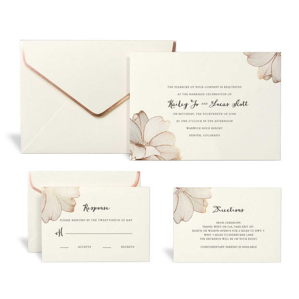 shop for the rose gold floral wedding invitation kit by celebrate it at michaels - Rose Gold Wedding Invitations