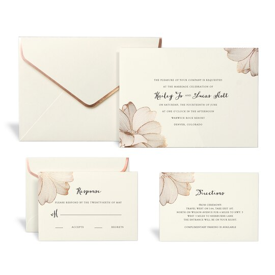 Shop for the Rose Gold Floral Wedding Invitation Kit By ...