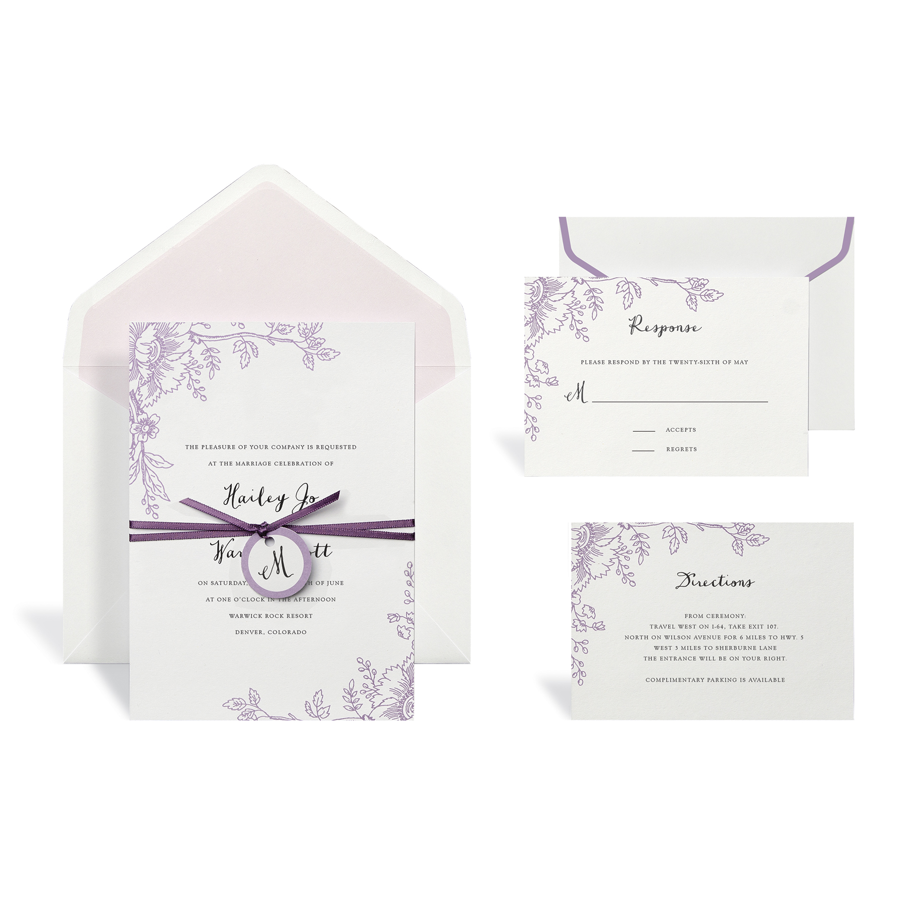 Find the Floral Purple Wedding Invitation Kit By Celebrate It at