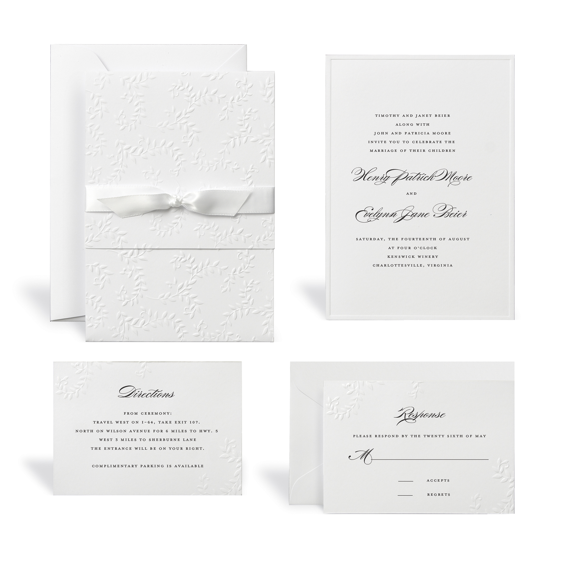 100 Preprinted Blank Wedding Programs Ring and Flower Design