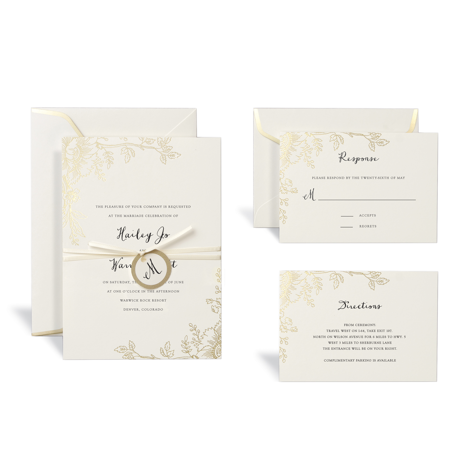 Shop for the Floral Gold Wedding Invitation Kit By Celebrate It