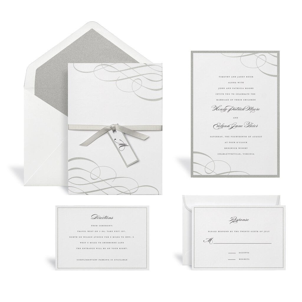 Wedding Invitations Kit: Find The Swirl Silver Wedding Invitation Kit By Celebrate