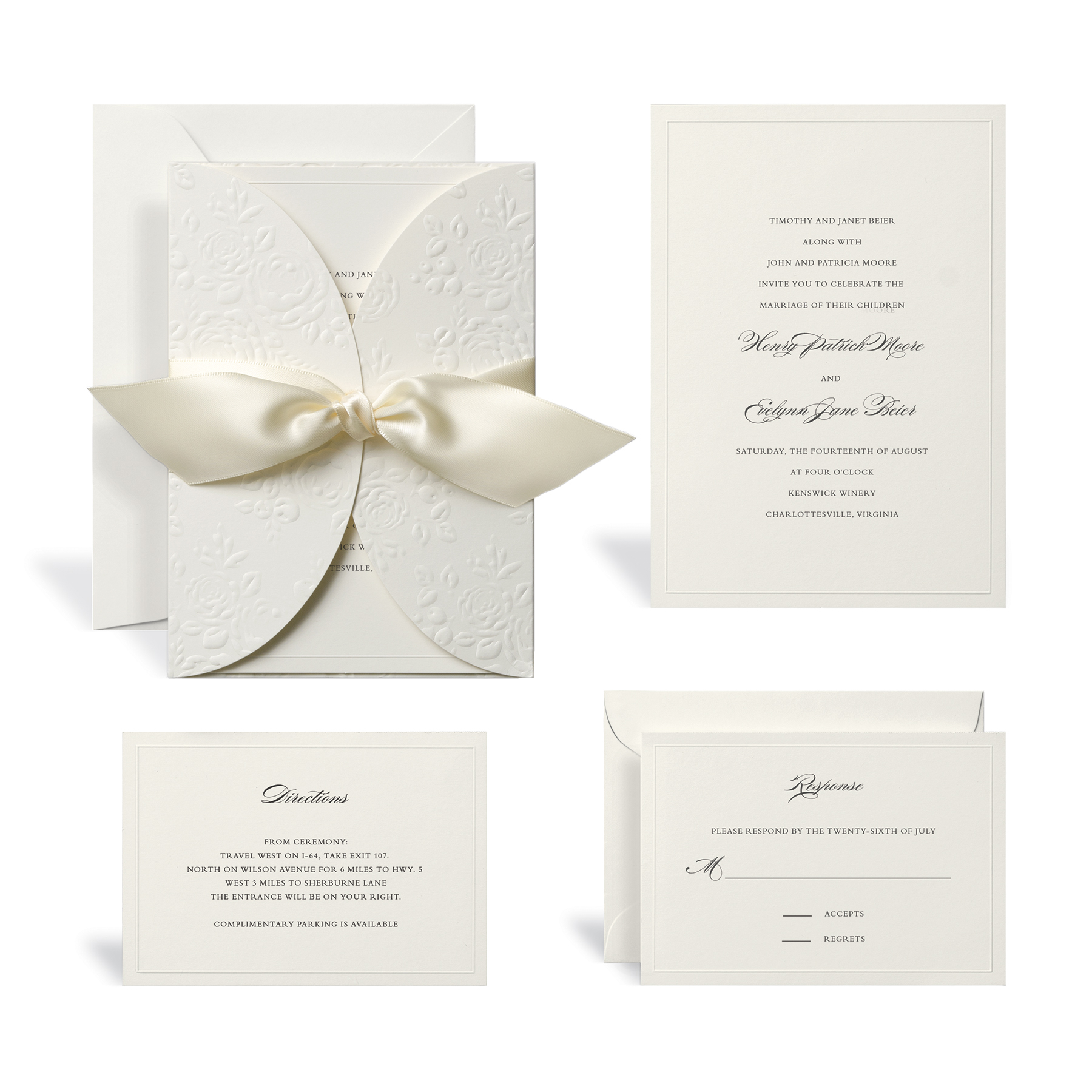 Buy the Embossed Ivory Wrap Wedding Invitation Kit By Celebrate It