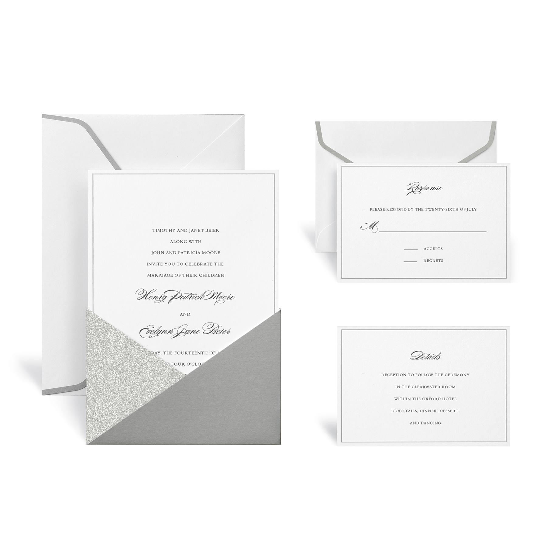Find the Silver Glitter Wedding Invitation Kit By Celebrate It at