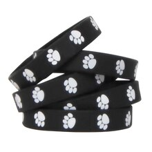 Black with White Paw Prints Wristband Pack