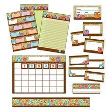 Owls Classroom Collection Bulletin Board Set, 94 Pieces Contents