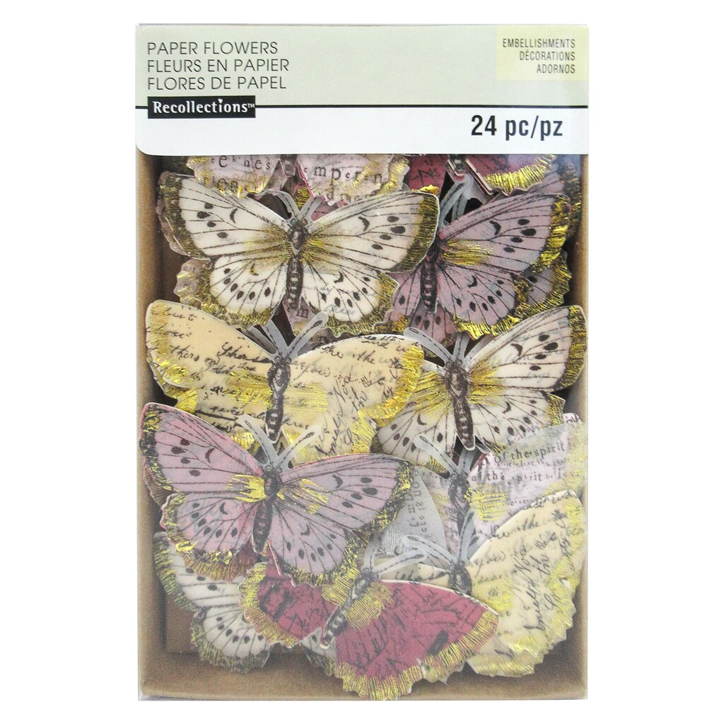 find the gold brushed pastel paper butterfly embellishments by