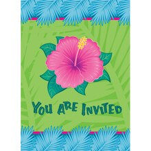 Tropical Bloom Luau Party Invitations, 8ct