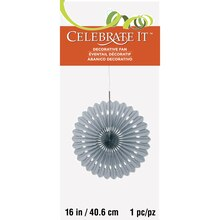 "Silver Tissue Paper Fan Decoration, 16"" Packaged"